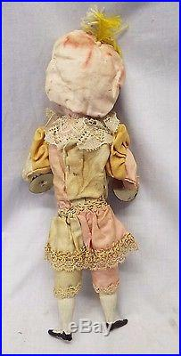 Early Antique French or German Bisque Headed SQUEEZE DOLL Mechanical AUTOMATION