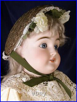 Early Kestner Bisque Doll 27 Lovely Face Sleep Eyes Teeth Antique Repro Dress