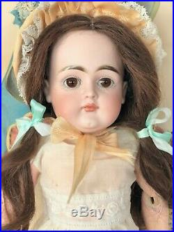 Early Kestner Closed Pouty Mouth Bisque Head Straight Wrists Antique Doll & Wig