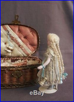 Early french antique all bisque mignonette doll in presentation basket 1880