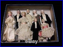 Eight Antique Bisque Doll's House Dolls, All Original Wedding Party