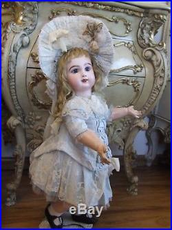 Exquisite Antique French Bebe Jumeau Bisque Doll Lace Blue Silk Dress + Gift