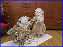 Exquisite Antique French Bebe Steiner Bisque Doll Lace Pink Silk Dress + Gift