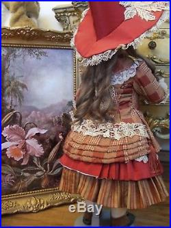 Exquisite Antique Rabery & Delphieu French Bebe Bisque Doll Lace Silk Dress+Gift