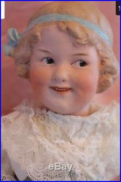 Exquisite Heubach Coquette Doll 7768, 16'' Antique German Bisque, Molded Bow