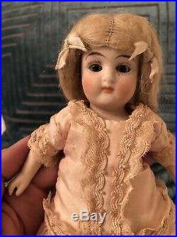 Extra Large All Bisque Limbach 7 Antique Chunky Bisque Doll Orig Wig Prize Baby
