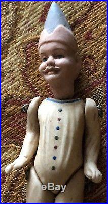 FABULOUS DETAIL Antique Doll / Ornament bisque Germany Limbach RARE JESTER 4.25
