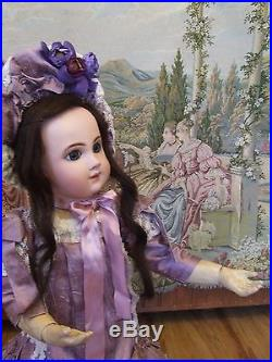 For Antique French German Bisque Jumeau Doll Exquisite Lilach Dress & Hat