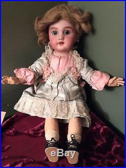 French Antique Bisque doll, pierced ears, jointed wood body 14 marked DEP 4