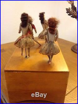 French Music Box with Antique bisque head Dancing dolls c 1885
