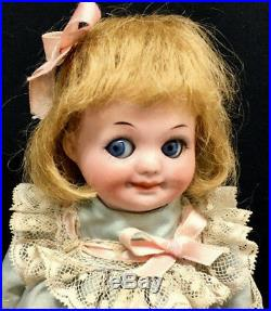 GOOGLY Armand Marseille 323 7 Closed-Mouth Antique Bisque-Head German Doll