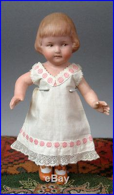 Gebruder Character All-Bisque 9 Antique Doll with Bob-cut Hair