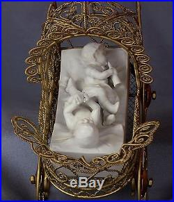 German Miniature Bisque 3 Baby Doll House Figurines Brass Stroller Limbach