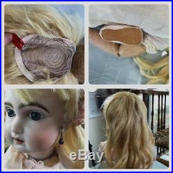 Gorgeous 25 1907 Antique French Bisque Head Bebe Jumeau Doll Size 10