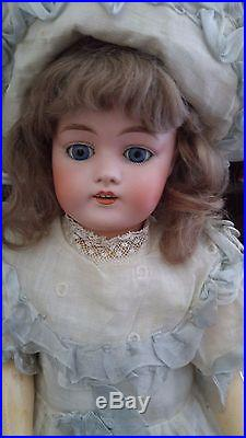 Gorgeous Antique German Kestner 168 Bisque Head Doll with Square Cut Teeth