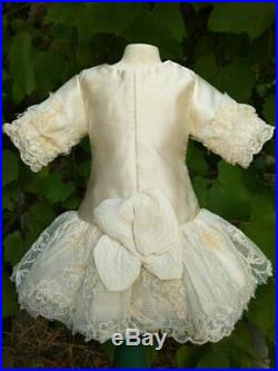 Gorgeous antique doll dress, silk, German or French antique doll