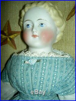 Gorgeous antique parian bisque (china) shoulder head lady doll withblond hair 16+