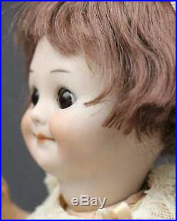 Great Character Antique Bisque Doll Am 323 Googly In Pink