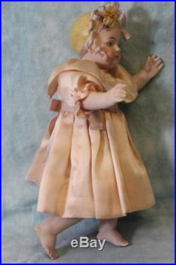 HUGE 13 Antique All Bisque Kling German Doll Barefoot Child Chunky Body c. 1890