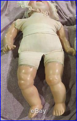 HUGE Antique 24 Georgene Averill Bonnie Babe Bisque Char. Baby Doll withOrig Body