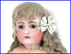 HUGE Antique Heinrich Handwerck Bisque Doll withCompo Body Stationary French Eyes