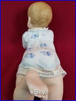 HUGE Antique Hertwig German Piano Baby Figurine Doll Bisque Rare Size 15 CUTE