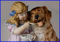 Heubach Ql LARGE Victorian Piano Baby Girl and St Bernard Dog bisque figurine