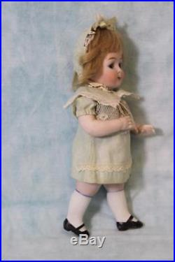 Large 7.5 Antique Doll All Bisque Googly 218 Watermelon Mouth Hertel and Schwab