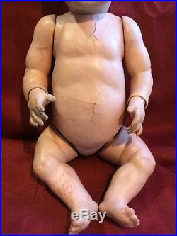 Large Antique Bisque Head 22 Character Baby Doll Unmarked Kestner