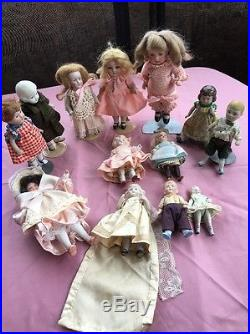 Lot antique bisque doll collection 12