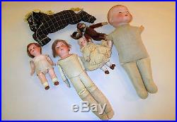 Lot of antique cloth bisque, composition dolls with Monkey and horse dolls
