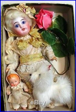 Lovely 8 1/2 Bisque head (glass eyes) Antique Mignonette Doll, Baby & Puppy