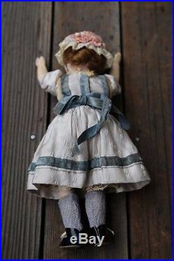 Lovely Antique 9 BELTON Bisque Head DOLL Blue Glass Eyes All Original Cothes