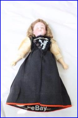 Lovely Antique German Bisque Head DOLL All Original Clothes 10 Tall Fancy Wig