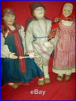 Lovely antique circa 1910-20s bisque sockethead RUSSIAN doll all orig. Costume