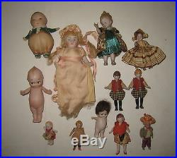 Mixed Lot of Twelve Small Antique German All Bisque Dolls MC39