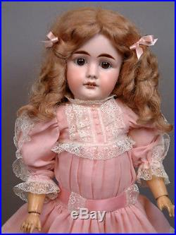 Mystery German Antique Bisque Doll in Bright Pink Dress with Lace Trim
