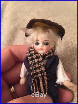 Nicely Dressed 4 Antique All Bisque French Or French Market Mignonette Doll