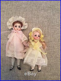Nicely Dressed 5.5 Antique All Bisque French Or French Market Mignonette Doll