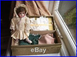Old Antique French Bisque Head Unis 301 Bebe Doll Boxed Clothes Hats items etc