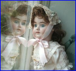 Old Vintage Antique French Bisque Head Bebe Kiss Throwing Walking Doll c. 1910