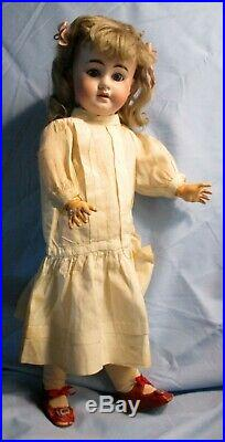 PERFECT Early Antique German Bisque AM 1894 Doll, Factory Dress, Socks & Shoes