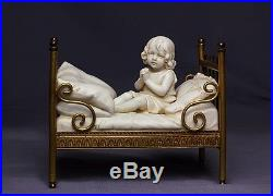 Pair of Rare German Heubach Bisque Doll Piano Baby Girl Figurines in Brass Beds