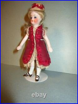 Pretty Early Antique All Bisque 4 7/8 French Mignonette Doll Fantastic Example