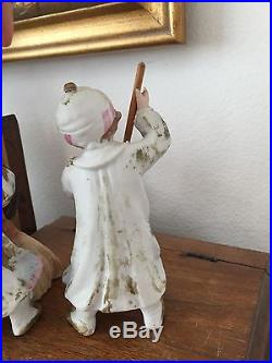 RARE 4060 Mold Gebruder Heubach Antique Figurine Bisque Doll Sweepers Pair