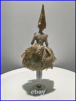 RARE ANTIQUE GERMAN BISQUE HALF DOLL MASQUERADE MASK PIN CUSHION 1940s
