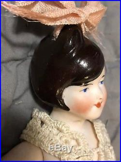RARE HAIR LOOP! All Bisque 6inch FLAPPER doll YELLOW STOCKINGS antique GERMANY