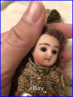Rare 5 Antique All Bisque French Mignonette Doll With Regimental Costume