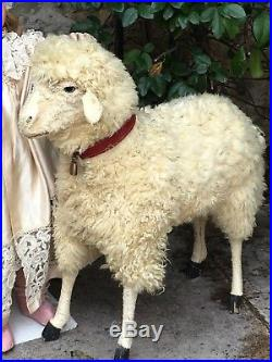 Rare Antique Big Sheep For Bisque Doll 20 Inches Tall
