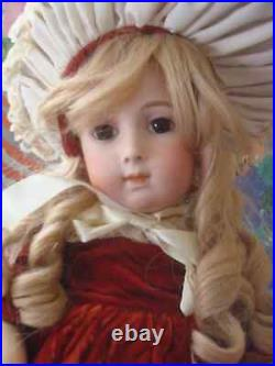 Rare Antique French Doll, Jumeau Triste, on early compo body, straight wrists